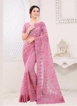 Beautiful Pink Color Net Saree
