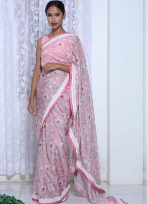 Beautiful Pink Color Printed Saree