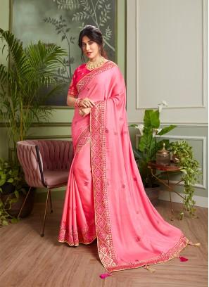 Beautiful Pink Color Stylish Saree