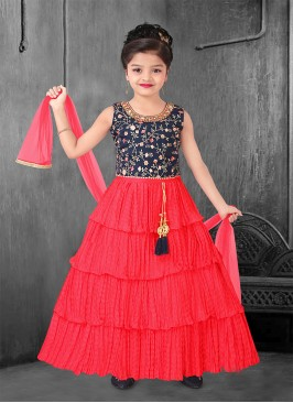 Beautiful Red And Blue Color Little Girls Dress