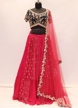 Beautiful Red Color Party Wear Designer Lehenga