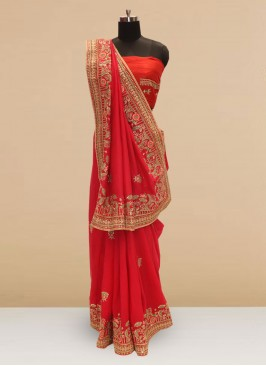 Beautiful Red Color Party Wear Silk Saree