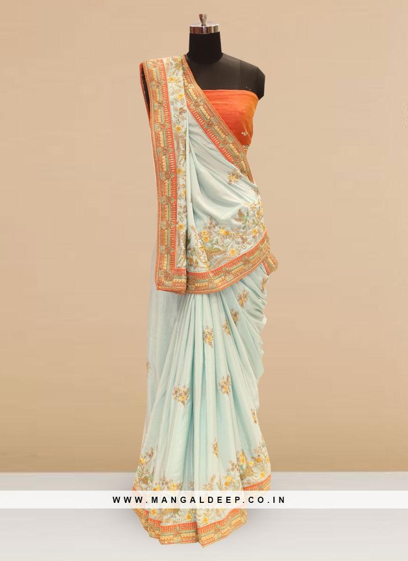 Beautiful Sky Blue Color Party Wear Silk Saree