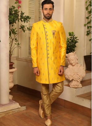 Beautiful Yellow Color Function Wear Indo Western Suit