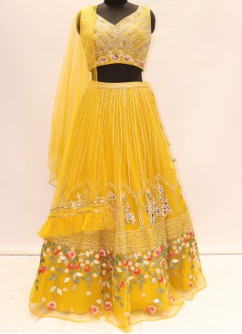 Beautiful Yellow Color Party Wear Designer Lehenga