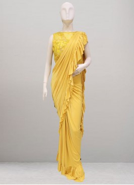Beautiful Yellow Color Party Wear Saree