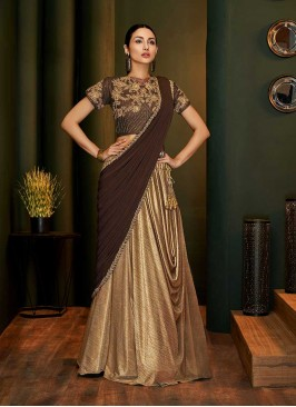 Beige And Brown Color Fancy Saree