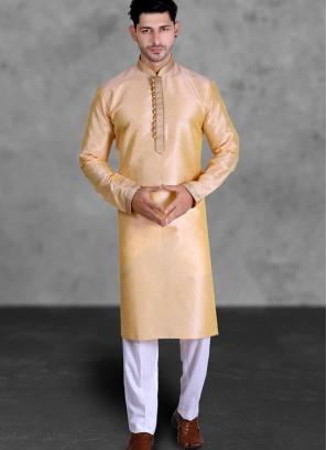 Beige Color Art Silk Kurta Set For Men