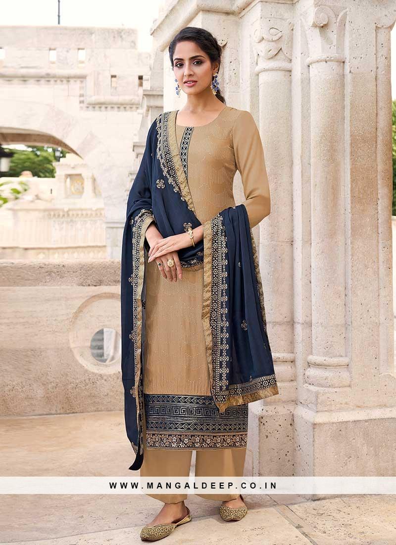 Beige Color Chinnon Pakistani Dress
