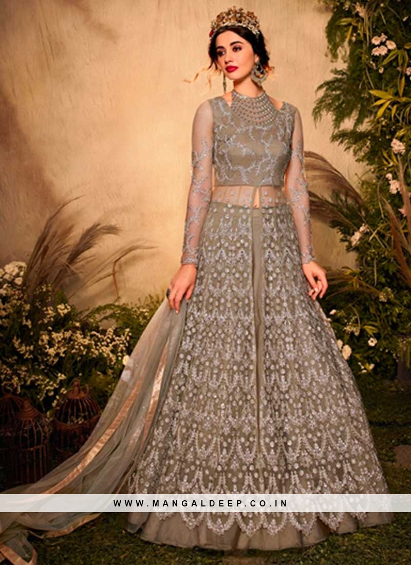 Beige Color Embroidered Anarkali Suits For Wedding