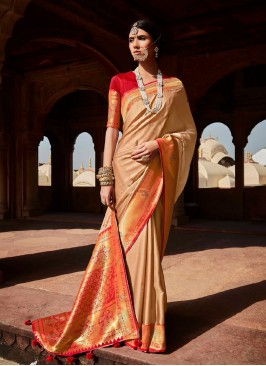 Beige Color Gorgeous Silk Saree