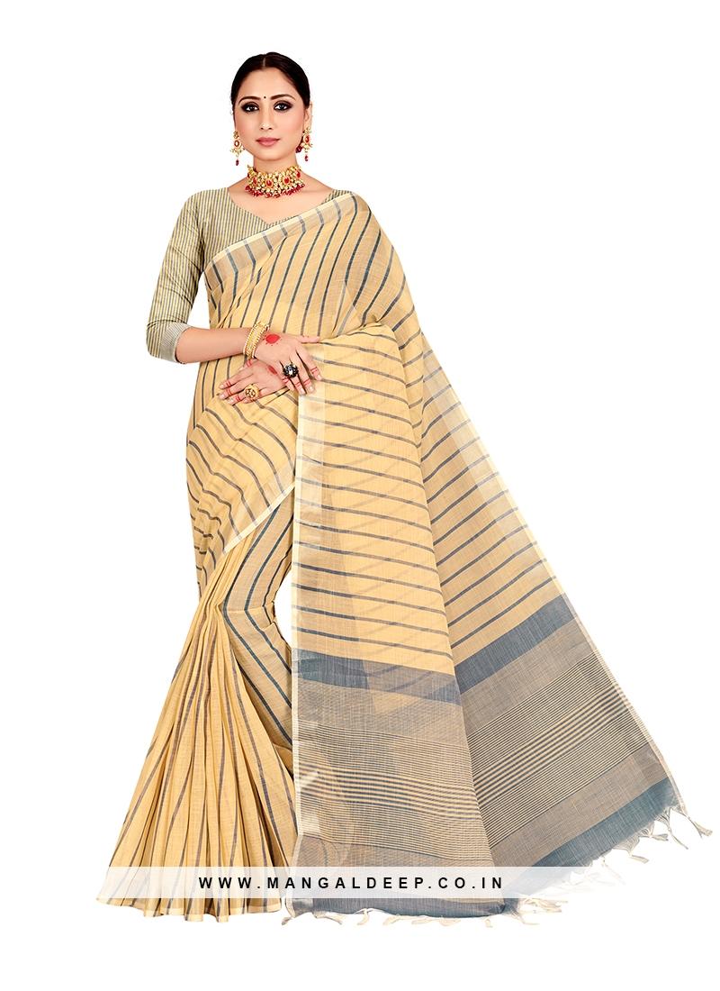 Beige Color Linen Stylish Saree