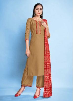Beige Color Rayon Readymade Salwar Suit