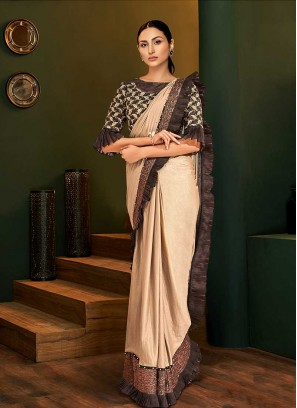 Beige Color Saree With Readymade Blouse