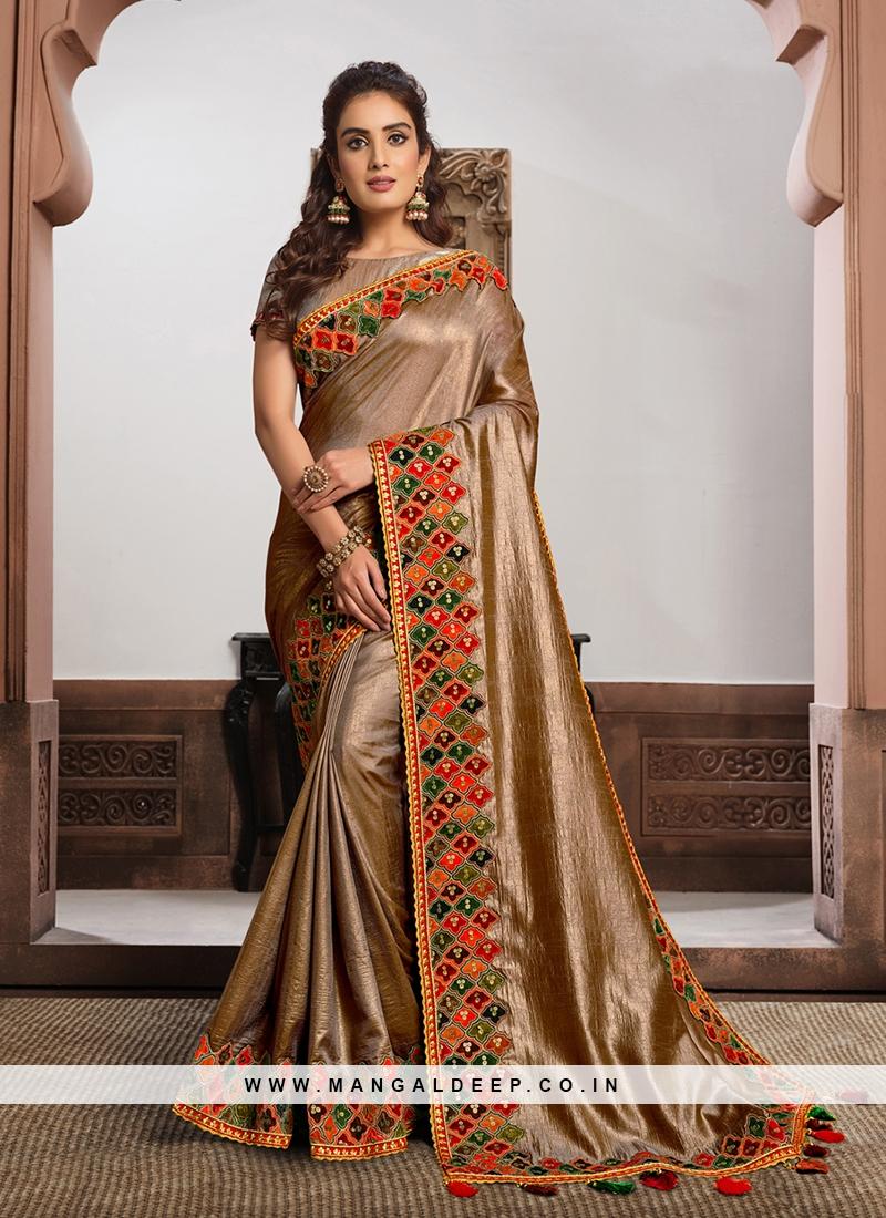Beige Color Satin Silk Saree