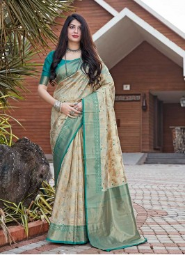 Beige Color Silk Girl Wear Saree