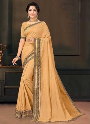 Beige Color Silk Latest Saree
