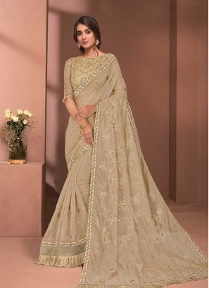 Beige Color Tissue Readymade Saree Blouse