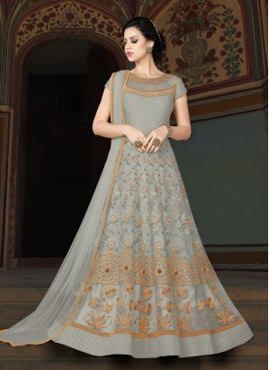 Beige designer Floor length anarkali Suit