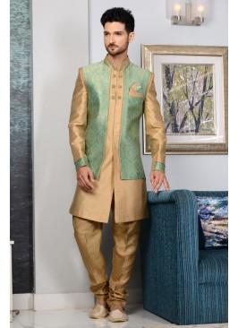 Beige Designer Indian Reception Party Wear Indo Western Suit
