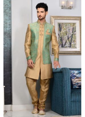 Beige Designer Indian Reception Party Wear Indo Western Suit