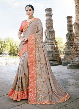 Beige Designer Patch Border Party Wear Traditional Saree
