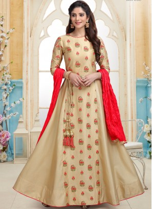 Beige Embroidered work Designer Readymade Anarkali Suit