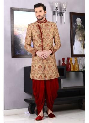 Beige Jaquard Silk Brocade Groom Indo Western Sherwani