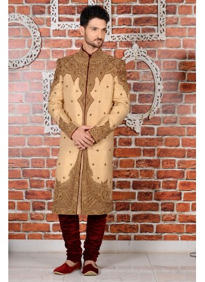 Beige Jaquard Silk Brocade Wedding Sherwani