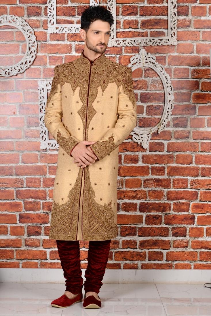 Beige Jaquard Silk Brocade Wedding Sherwani