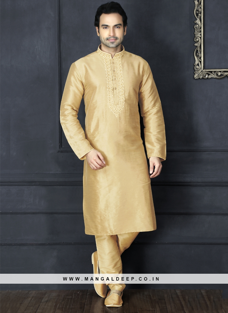 Beige Kurta Pajama For Sangeet Function