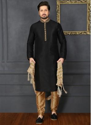 Black Art Banarasi Silk Kurta Pajama
