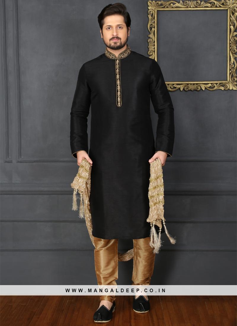 1e212b1ac4 Black Art Banarasi Silk Kurta Pajama