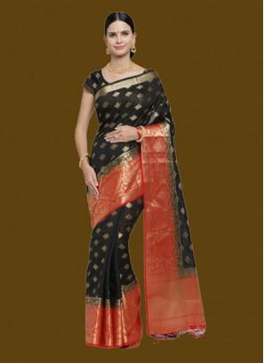 Black Banarasi Silk Saree For Ladies