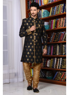 Black Brocade Silk Designer Bollywood Style Sherwani
