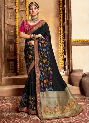 Black Color Banarasi Silk Saree Online