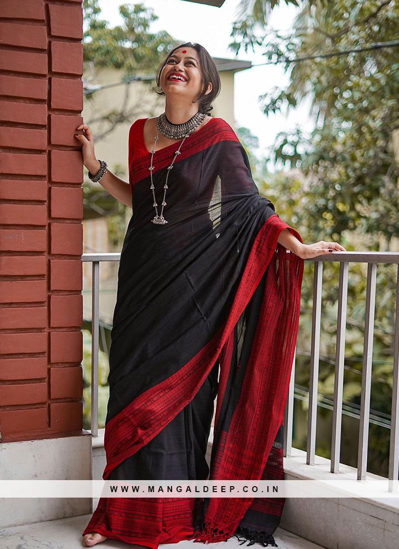 Black Color Chanderi Cotton Casual Wear Saree