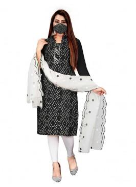 Black Color Cotton Bandhni Dress Material