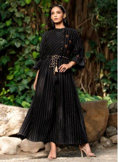 Black Color Cotton Designer Kurti