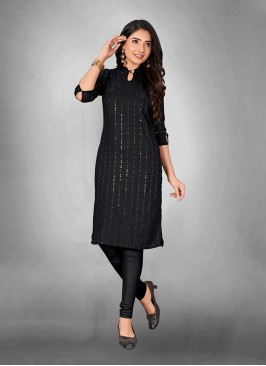 Black Color Cotton Sequins Work Kurti