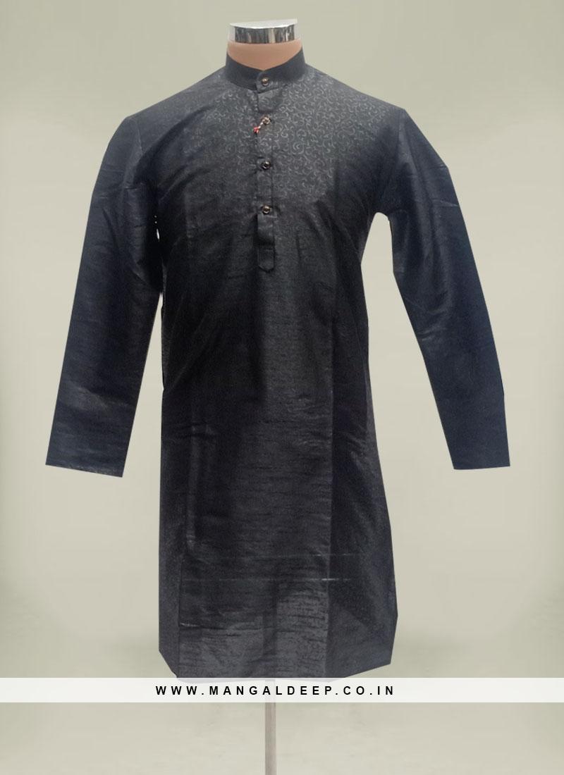 Black Color Cotton Silk Mens Kurta