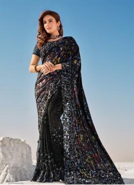 Black Color Cut Dana Work Net Saree