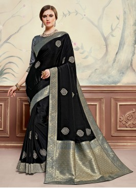 Black Color Designer Saree With Unstitched Blouse