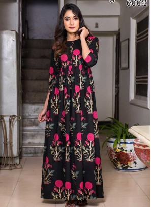 Black Color Digital Print Gown