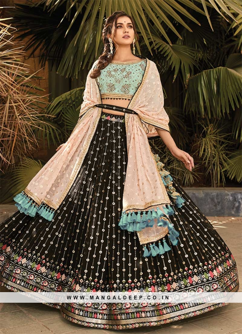 Black Color Embroidered Fancy Fabric Lehenga