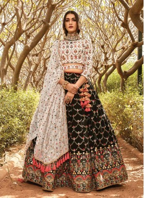 Black Color Embroidered Festive Wear Lehenga