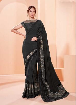 Black Color Frill Border Saree