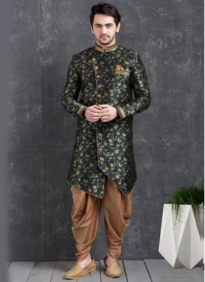 Black Color Function Wear Indo Western Kurta Pajama