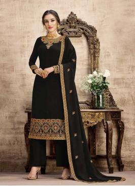 Black Color Georgette Embroidered Salwar Suits
