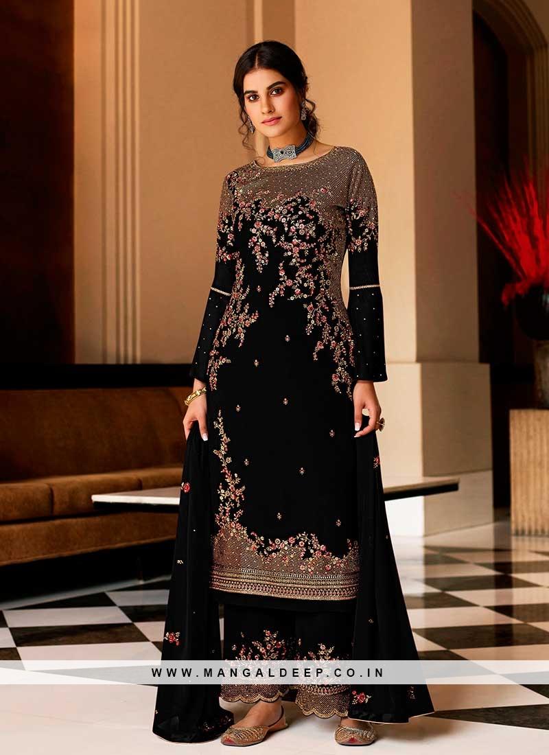 Black Color Georgette Plazzo Suit